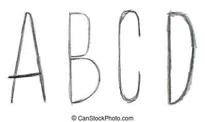 Animated sketch-style english abc