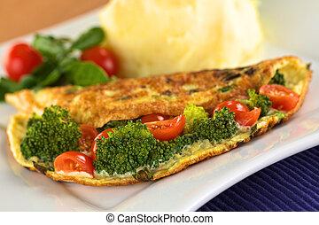 Broccoli and tomato omelette