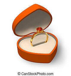 Orange heart-shape box with golden ring with jewels isolated...