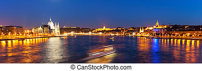 Scenic night panorama of Budapest, Hungary - Scenic wide...