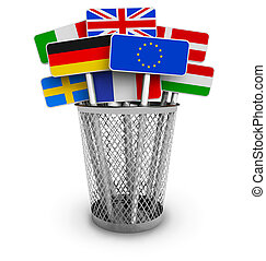 Signs with world flags in office bucket