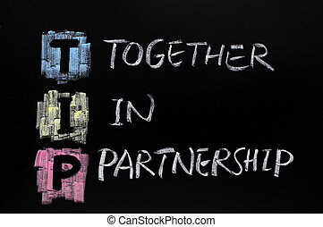 TIP acronym, together in partnership - TIP acronym, drawn...