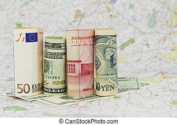 Four Currencies, Euro, Dollar, Yuan, and Yen - Four, major...