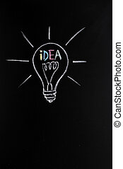Light bulb,innovation - Light bulb drawn with chalk, symbol...