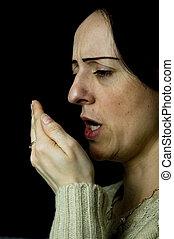 mulher, tossir, espirrando, mão