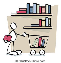 funny guy buying books online - a man is buying e-books in a...