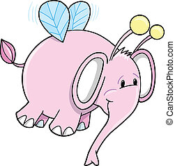 Bumble Bee Pink Elephant Vector - Cute Safari Bumble Bee...