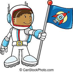 lindo, astronauta, vector, Ilustración