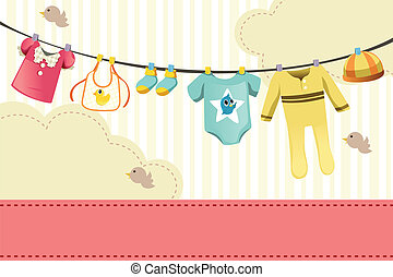 Baby clothings - A vector illustration of baby clothings on...