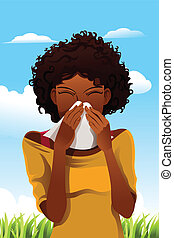 Sneezing woman - A vector illustration of a woman sneezing...