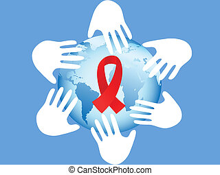 hands on AIDS symbol - hands around AIDS symbol of globe on...