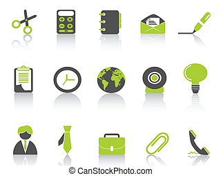 office icon green series - isolated green office icon on...