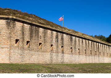 Fort Barrancas Pensacola - US Flag on top of the ramparts of...