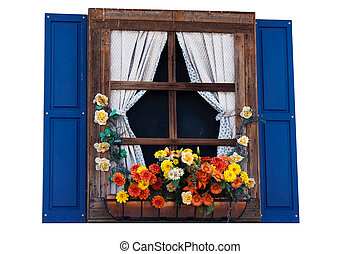 Country style window with flowers,planter, shutters and...
