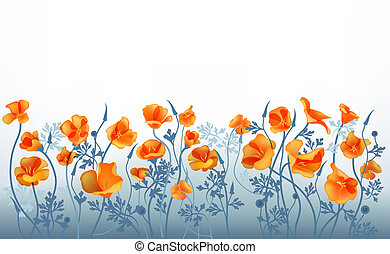 Orange flowers - Refine blue background with orange flowers.