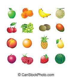 Calorie table fruits - Set of colorful isolated fruits for...