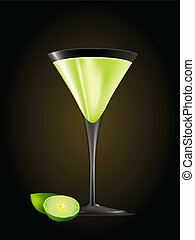 Cocktail Gimlet glass with limes isolated over black