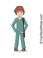 Teenage student - Cheerful teenage boy in school uniform