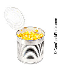 opening can with corn isolated on the white