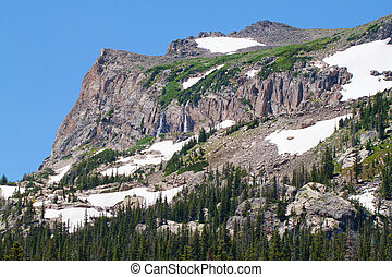 mountain with snow and waterfalls in rocky mountains in...
