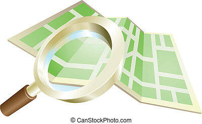 Magnifying glass map concept - Magnifying glass zooming on...