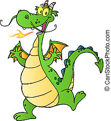 Happy Green Dragon Dancing - Happy Dragon Cartoon Character