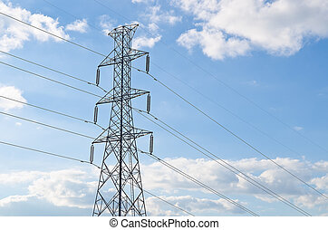 electricity pylon in blue sky and cloud at Thailand