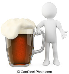Man leaning on a dark beer. Rendered on a white background...