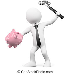 Businessman breaking a piggy bank with a hammer. Rendered on...