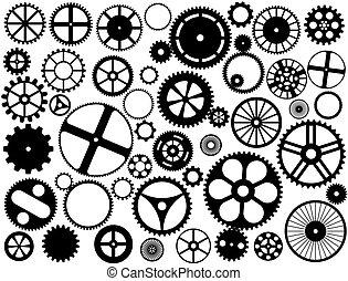 Engrenagem, roda, silhuetas