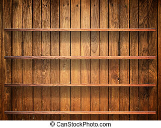 Wood shelf on wood wall - Empty four wood shelf on wood...