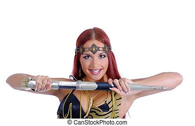 guerrero, mujer, tenencia, espada, ella, mano