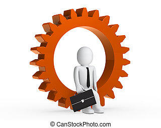 Businesman sitting in orange gear - Businesman with...