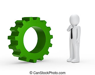 Business man green mechanical gear