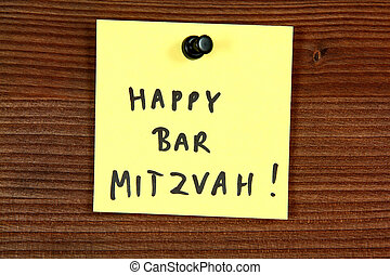 Bar mitzvah - Sticky note with happy bar mitzvah message...