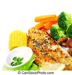 Tasty fish fillet - Tasty healthy fish fillet with steamed...