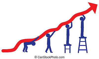 People pushing up arrow - concept of employees working hard...