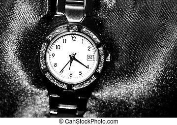 Women's Wrist Watch - Women's wrist watch in black and white...