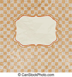 Old card design, orange vintage frame. EPS 8