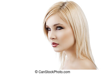 blond lady with hair style