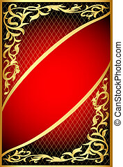 red background with gold(en) ornament and net