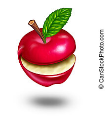 Healthy eating with a smiling natural funny happy ripe red...