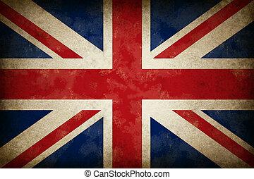 Grunge, grande, gran bretaña, bandera