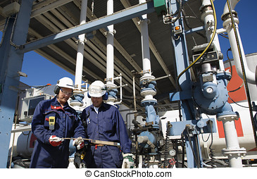 aceite, trabajadores, refinería, estación