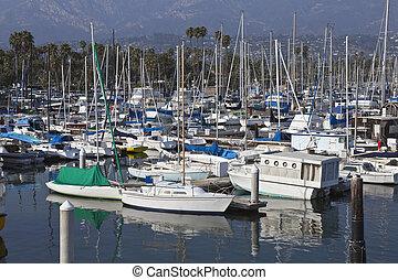 Santa Barbara Marina on a warm and bright afternoon.