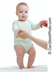 bebé, pasos, primero, tiempo, aislado