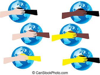pace nel mondo - mani che fanno amicizia
