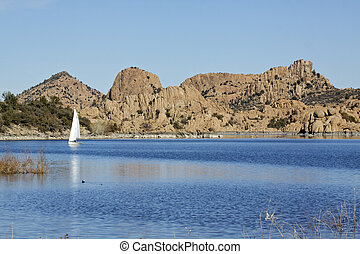 Scenic Watson Lake - boats enjoying scenic watson lake near...