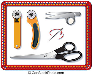 Quilting Tools - Two rotary blade cutters, thread clips,...