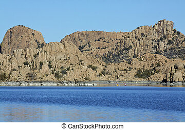 Watson Lake Prescott Arizona - granite formations line...
